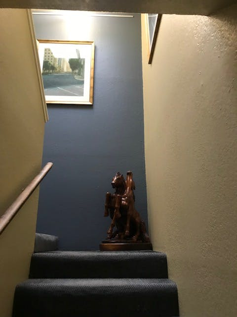 Bodega bay inn, skylight, hanging art work, wood sculpture, stairwell