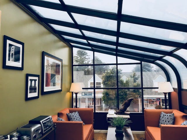 Solarium, glass room, Hanging artwork, glass lounge, bodega bay inn
