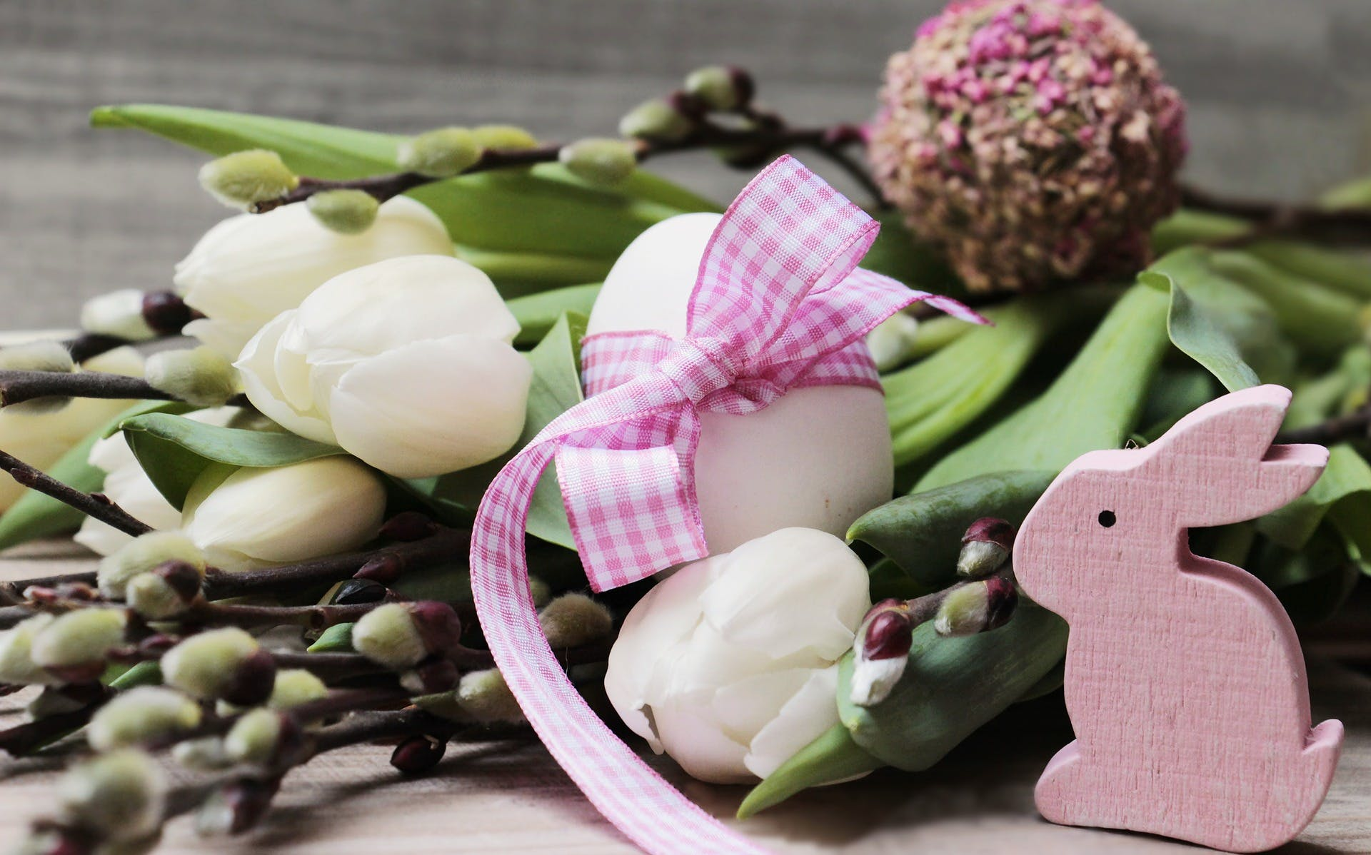 Assortment of Easter trinkets on a plate