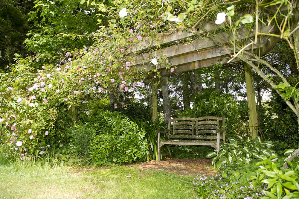 There are 9 places in the garden to sit and relax
