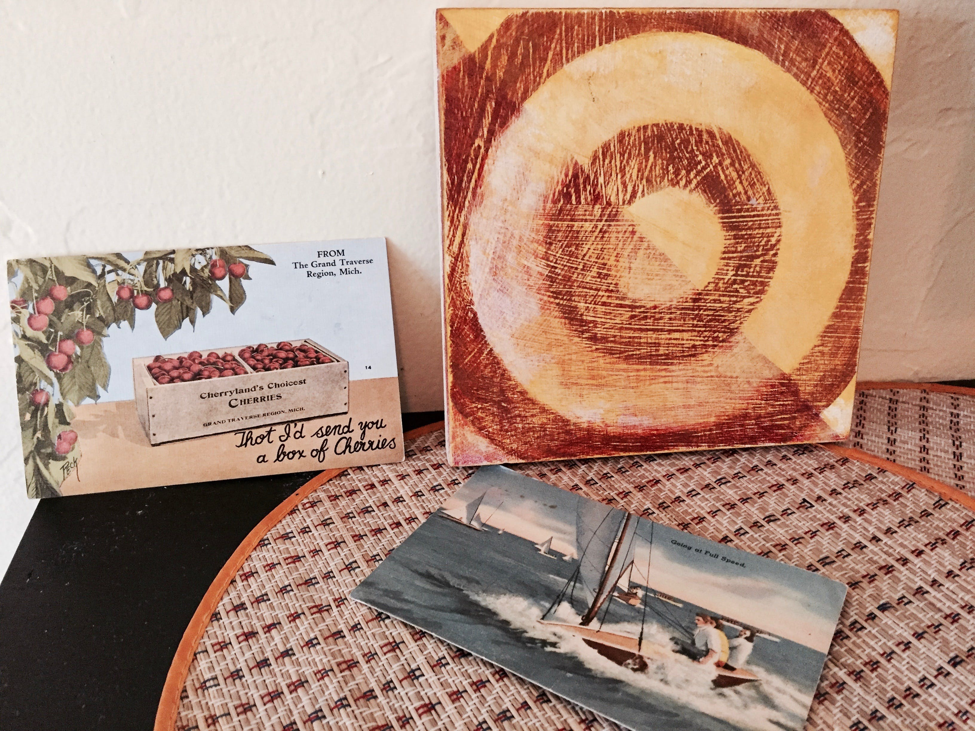 Modern art, vintage postcards