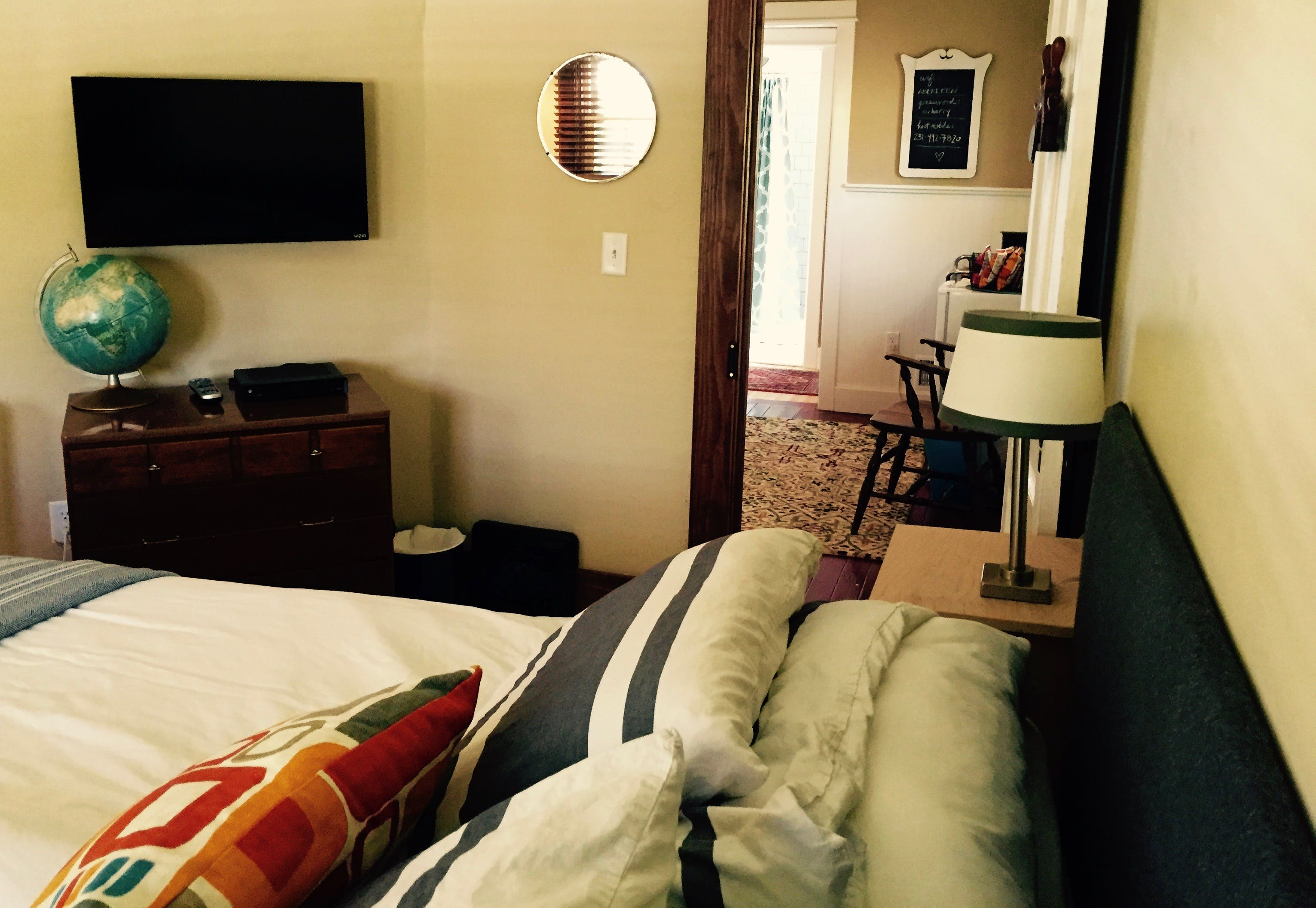 Second floor guest room with king bed, private bathroom