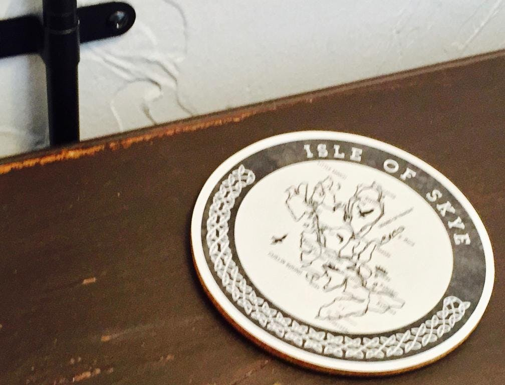 Scottish coaster on bedside table
