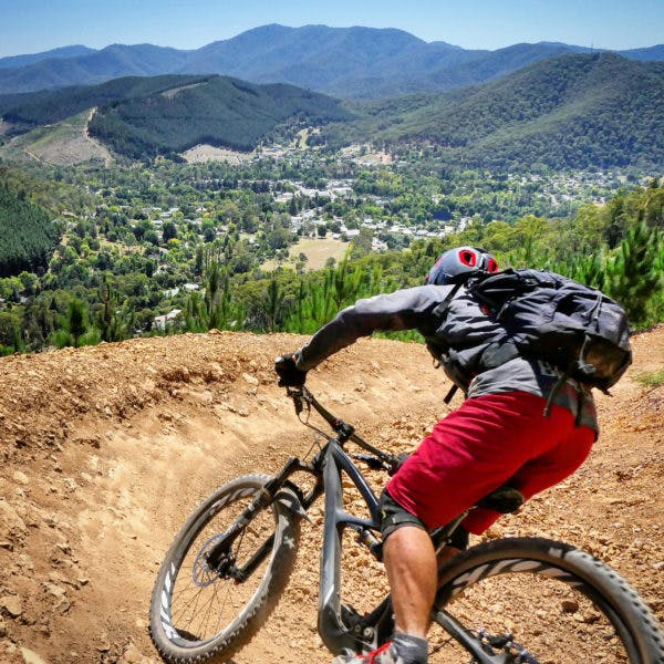Riding the Hero Trail with views out over Bright