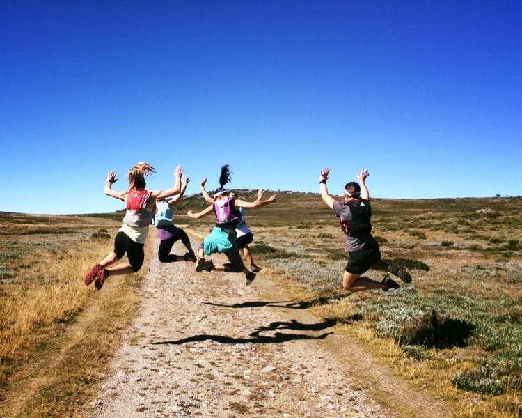Girls hike on the Bogong High Plains